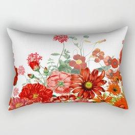 Vintage & Shabby Chic - Red Summer Flower Garden Rectangular Pillow