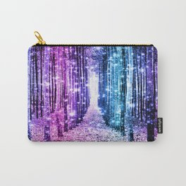Magical Forest : Aqua Periwinkle Purple Pink Ombre Sparkle Carry-All Pouch