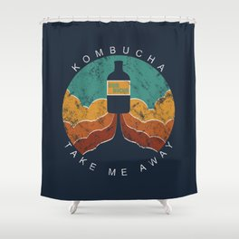 "KOMBUCHA ""Take Me Away"" Rocket // Mushroom Tea Graphic Design Scoby Health Drink Bubble Scooby Shower Curtain"