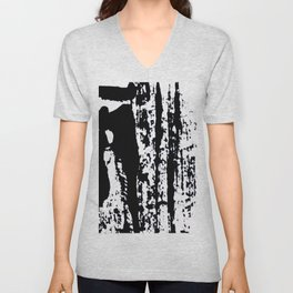 Blank: a minimal black and white linoprint Unisex V-Neck