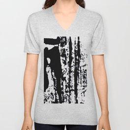 Blank: a minimal black and white linoprint Unisex V-Neck