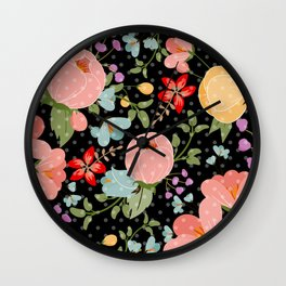 Colorful pink black white polka dots floral illustration Wall Clock