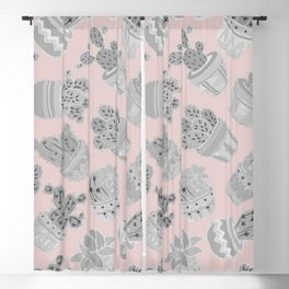 Modern silver blush pink trendy cactus floral Blackout Curtain