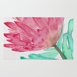 Watercolour King Protea Painting Rug