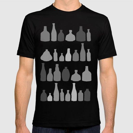 Bottles Black and White on Black T-shirt