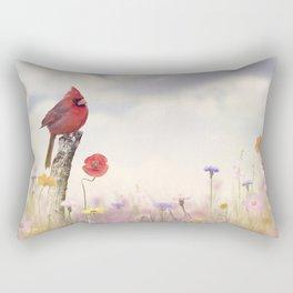 Male Northern Cardinal in a flower field Rectangular Pillow