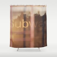 subway Shower Curtains featuring Subway by Sandra g