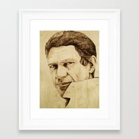 steve mcqueen Framed Art Prints featuring Steve McQueen by Farinaz K.