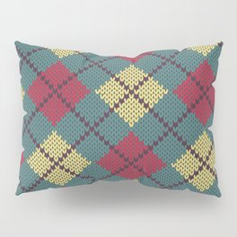 Faux Retro Argyle Knit Pillow Sham
