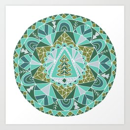 Holiday Winter Tree Mandala Art Print