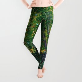 Brush and Underbrush flower and forest landscape by Vincent van Gogh Leggings