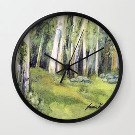 Woodland Landscape Watercolor Vermont Painting Birch Trees Spring Fields Wall Clock