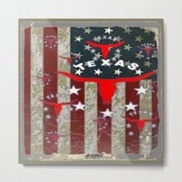 Grungy Old Looking Texas  Pride Longhorn Americana Metal Print