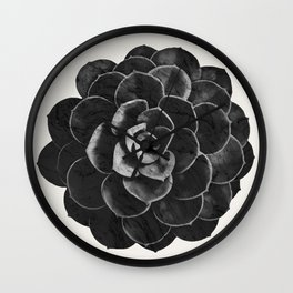 Succulent Black Marble Wall Clock