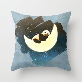 Sleeping Panda on the Moon Throw Pillow