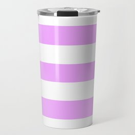 Rich brilliant lavender - solid color - white stripes pattern Travel Mug