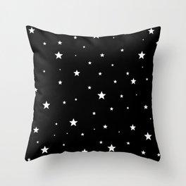 Scattered Stars - white on black Throw Pillow