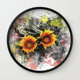 Glowing yellow daisies on white Wall Clock