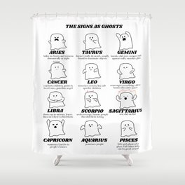 zodiac signs as ghosts Shower Curtain