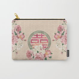 Watercolor Double Happiness Symbol with  Peony flowers Carry-All Pouch