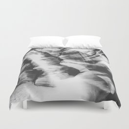 rock in the cave with sunlight at Antelope Canyon, USA in black and white Duvet Cover