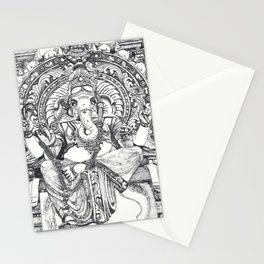 Genish black and white line drawing Stationery Cards
