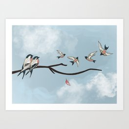 Family in Flight Art Print