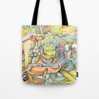 insect Tote Bags featuring Compositions insect by Maethawee Chiraphong