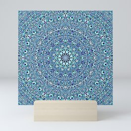 Light Blue Floral Life Mandala Mini Art Print