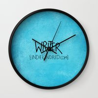 writer Wall Clocks featuring Writer by Indie Kindred