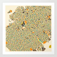 jazzberry Art Prints featuring Brooklyn Map by Jazzberry Blue