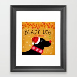 Black Dog Christmas Framed Art Print