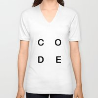 code V-neck T-shirts featuring Code by siti fadillah