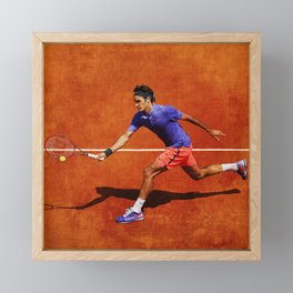 Roger Federer Tennis Chip Return Framed Mini Art Print