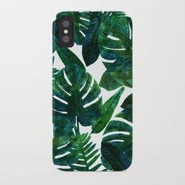 Tropical Nature Monstera Watercolor Painting, Botanical Jungle Dark Palm Illustration iPhone Case