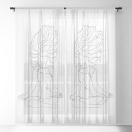 One line lotus Sheer Curtain