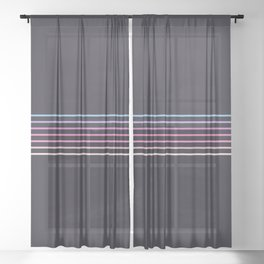 Pink Colored Retro Stripes Sheer Curtain