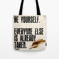 oscar wilde Tote Bags featuring Oscar Wilde: Be Yourself by Danielle Denham