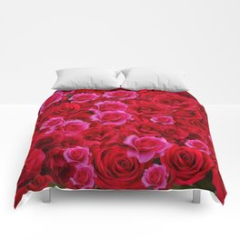 NATURE ART OF BED OF RED & PINK ROSE FLOWERS Comforters