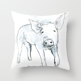 Happy Pig, watercolor Throw Pillow