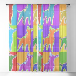 Poster with portrait of a miniature pinscher dog in pop art style Sheer Curtain
