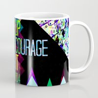 scripture Mugs featuring RISE UP TAKE COURAGE AND DO IT Colorful Geometric Floral Abstract Painting Christian Bible Scripture by The Faithful Canvas