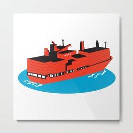 container cargo ship retro Metal Print