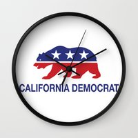 political Wall Clocks featuring California Political Democrat Bear by Democrat