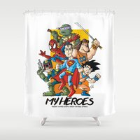 heroes Shower Curtains featuring My Heroes by neicosta
