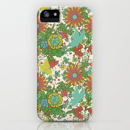 Garden Charm 10:  vintage retro butterfly shabby pattern yellow and blue iPhone Case
