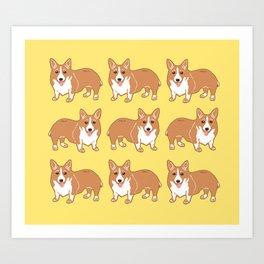Happy Corgi Pattern Art Print