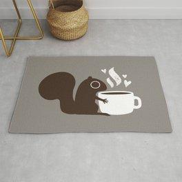 Squirrel Coffee Lover   Cute Woodland Animal Rug