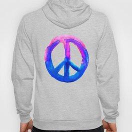 Pink Blue Watercolor Tie Dye Peace Sign Hoody