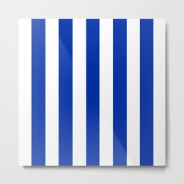 International Klein Blue - solid color - white vertical lines pattern Metal Print
